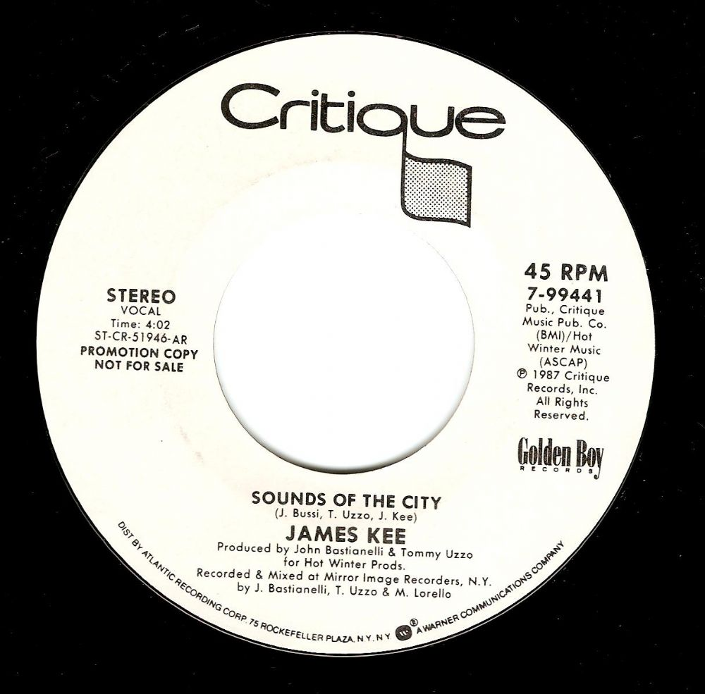 JAMES KEE Sounds Of The City Vinyl Record 7 Inch US Critique 1987 Promo